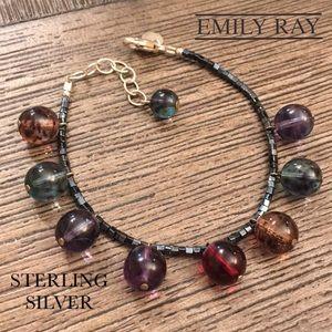 Vtg Emily Ray Glass Bead Bracelet Sterling Clasp